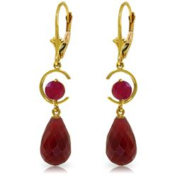 Genuine 18.6 ctw Ruby Earrings Jewelry 14KT Yellow Gold - REF-49Z2N