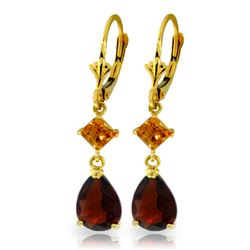 Genuine 4.5 ctw Garnet & Citrine Earrings Jewelry 14KT Yellow Gold - REF-41M4T