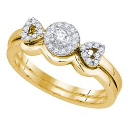 0.25 CTW Diamond Halo Bridal Engagement Ring 10KT Yellow Gold - REF-37M5H