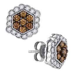 0.90 CTW Cognac-brown Color Diamond Hexagon Flower Earrings 10KT White Gold - REF-41F9N