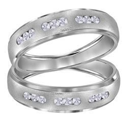 0.25 CTW His & Hers Diamond Matching Ring 14KT White Gold - REF-59Y9X