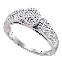 0.25 CTW Diamond Cradled Cluster Bridal Ring 10KT White Gold - REF-22K4W
