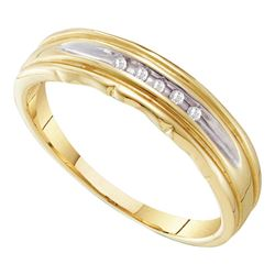 0.04 CTW Mens Channel-set Diamond Wedding Ring 10KT Yellow Two-tone Gold - REF-14X9Y