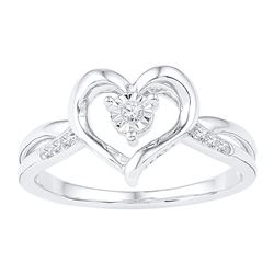 0.05 CTW Diamond Solitaire Heart Ring 10KT White Gold - REF-14M9H