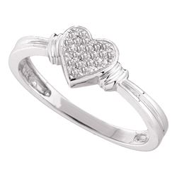 0.08 CTW Diamond Heart Love Cluster Ring 10KT White Gold - REF-14X9Y