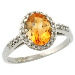 Natural 1.3 ctw Citrine & Diamond Engagement Ring 10K White Gold - REF-25Z9Y
