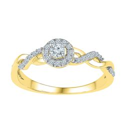 0.21 CTW Diamond Solitaire Bridal Engagement Ring 10KT Yellow Gold - REF-24F2N