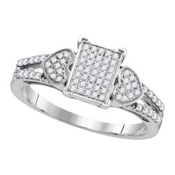 0.25 CTW Diamond Double Heart Square Cluster Ring 10KT White Gold - REF-25N4F