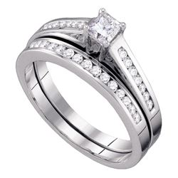 0.49 CTW Princess Diamond Bridal Engagement Ring 10KT White Gold - REF-46M4H