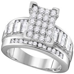 1 CTW Diamond Rectangle Cluster Bridal Engagement Ring 10KT White Gold - REF-68M9H