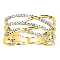 0.33 CTW Diamond Triple Row Openwork Crossover Ring 10KT Yellow Gold - REF-30X2Y