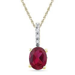 1.02 CTW Oval Created Ruby Solitaire Diamond Pendant 10KT Yellow Gold - REF-8H9M