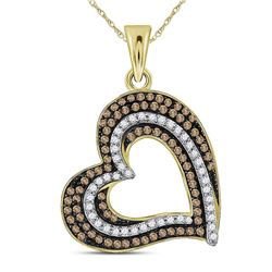 0.40 CTW Brown Color Diamond Heart Pendant 10KT Yellow Gold - REF-30X2Y