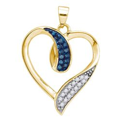 0.20 CTW Blue Color Diamond Heart Love Pendant 10KT Yellow Gold - REF-18X2Y