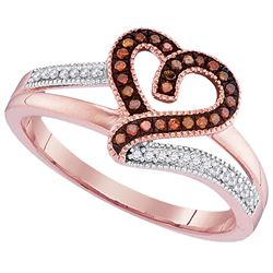 0.14 CTW Red Color Diamond Heart Love Ring 10KT Rose Gold - REF-22M4H