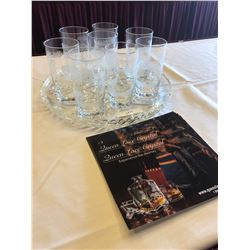 8 Crystal African sketched highball glasses