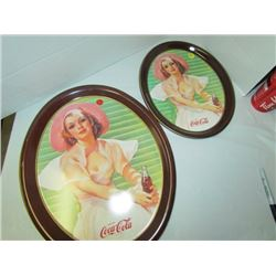 2 Coca-Cola Ladies trays 13x10.5 & 17x14