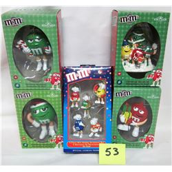Lot 5 new M&M Christmas ornaments