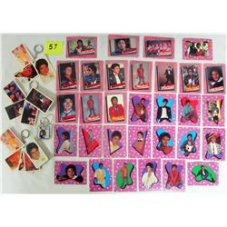 assorted 1984 Michael Jackson cards & 3 photo keychains