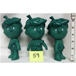 "3- 1970's Jolly Green Giant ""Little Green Sprout"" dolls ""baby sprout"" 6 inches"