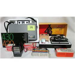Polaroid 420 camera Focused flash, flash cubes & Kodak Instamatic X-45 camera with flash cubes