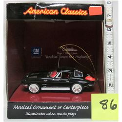 "1963 Corvette G.M. American classic musical ornament ""rockin' down highway"""