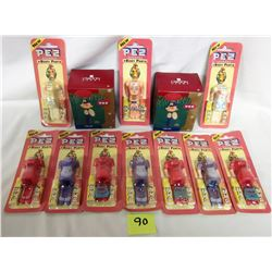 PEZ lot 2- 2004 heirloom collection 'firemen' ornaments 10- 1980's body parts sets/candy made in Hun