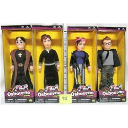 Set of 4 NEW Osbourne plush dolls Ozzy, Sharon, Jack, Kelly