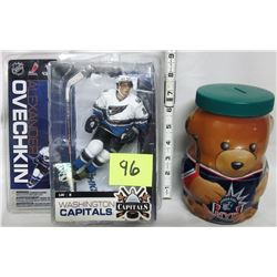 2006 Ovechkin McFarlane series 13 figure. Kraft NHL Washington bear jar