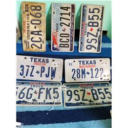 7 assorted Texas license plates