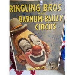 """Large Ringling Brother's Circus Poster (27""""x40"""") 1960s"""