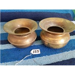 "Pair Of 6"" Brass Spittoons"