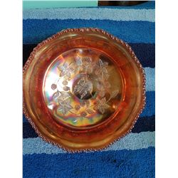 "Carnival Glass Footed Bowl 8.25"" Butterfly * 1 Leg Complete Break -Repaired"