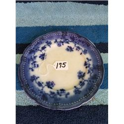 "Flow Blue Plate- 9"" Brunswich Royal"