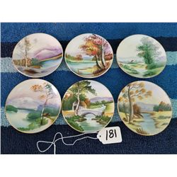 6 Miniature Hand Painted Japan Plates 4""