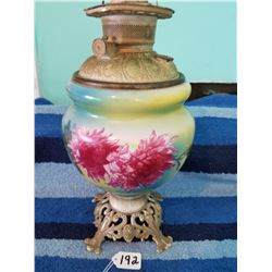 Beautiful Large Hand Painted Oil Lamp USA