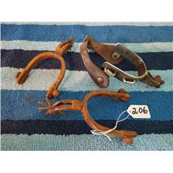 Pair Of Rusty Spurs + Single Spur