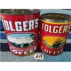 Pair of Folgers Coffee Tins -1 is Pat. 1931