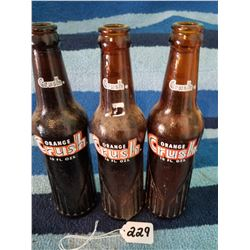 3 Unusual Brown Crush Pop Bottles 10oz