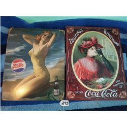 "Coke + Pepsi Advertising Signs 16x12"" Repro"