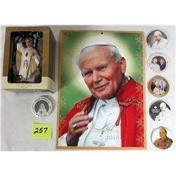 2015 Polish Pope Paul 2 Calendar. American greetings ornament. Assorted photo buttons.