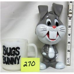 1976 Mattel Hong Kong Bugs Bunny Chatter Chum doll  & Bugs Bunny cup