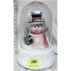 Large electric Christmas snowman musical globe