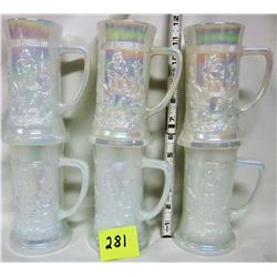 6 milk glass iridescent pearlized beer steins embossed with bar scene