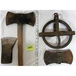 3 Axe heads & well pulley