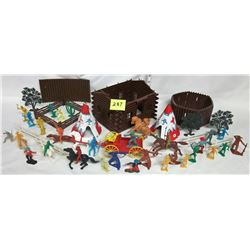 Assorted vintage Western plastic. house, corral, fence, buckboard, cowboys, indians, horses, teepees