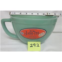 NEW Anchor Hocking Fire King 2000 Jade-ite green 2 quart batter bowl, stickers.