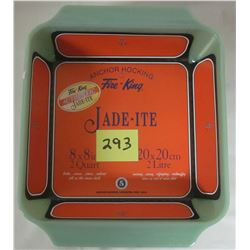 "NEW Anchor Hocking Fire King 2000 Jade-ite green 8"" X 8"" 2 quart casserole, stickers."