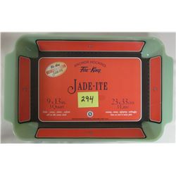 "NEW Anchor Hocking Fire King 2000 Jade-ite green 9"" X 13"" 3 quart casserole, stickers."