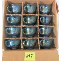 Set of 12 iridescent blue harvest grape punch bowl cups